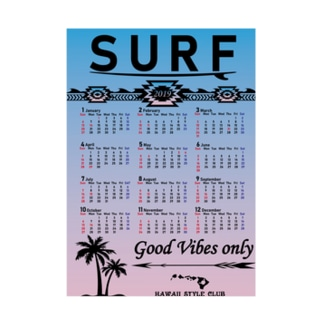 2019年カレンダー SURF SKY Stickable tarpaulin