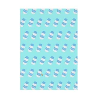 牛乳瓶総柄 Stickable tarpaulin