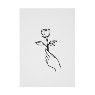 一輪のバラ(手書き風) Stickable tarpaulin