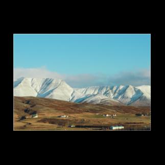 Keina Higashideのアイスランドの雪山 Stickable tarpaulinの横向き
