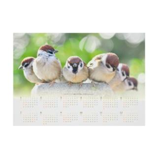 東京すずめカレンダー2020(A-Type) Stickable tarpaulin