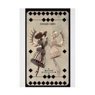 【シザーズクラウン】白黒鸚鵡貝羊たちの黙々(カード) Stickable tarpaulin