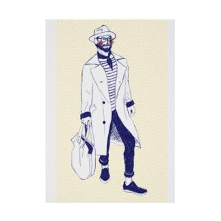 street fashion トレンチコート Stickable poster