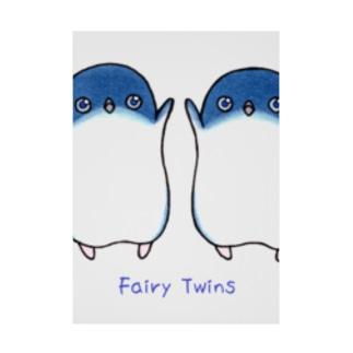 ふたごのフェアリーペンギン(ロゴあり) Stickable poster