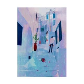 フジモトゴールド/イラストレーターの雨とサントリーニ。 Stickable poster