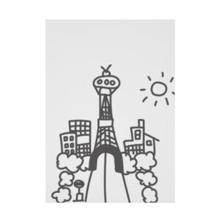 広告の裏に描いた落書きの街 Stickable poster