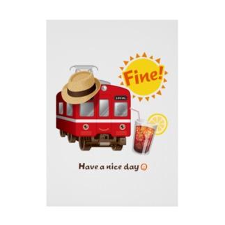 赤い電車 「 Fine ! 」 Stickable Poster