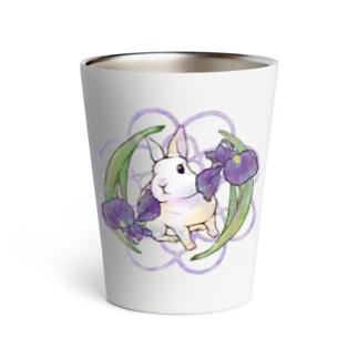 ウサギと菖蒲 Thermo Tumbler