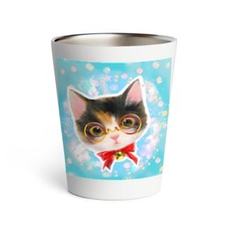 おしゃれなメガネをかけたミケ猫たちの夢かわいいイラスト Thermo Tumbler
