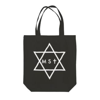 masato#0 白ヘキサグラムトートバッグ Tote bags