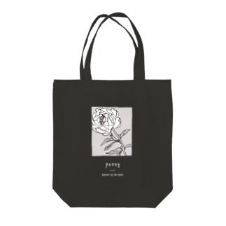 peony_A_Black Tote bags