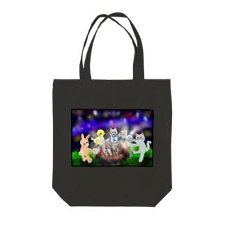 夜空キャンプ【ゆめかわアニマル】 Tote bags