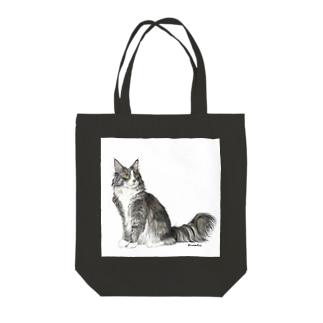 kinako-japanのノルウエージャンフォレストキャットのヤマトくん Tote bags
