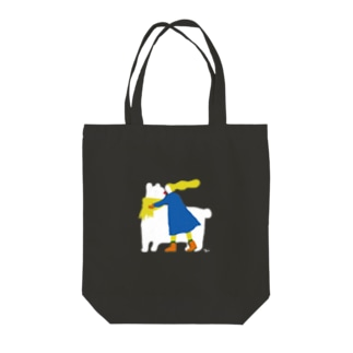 Bear and Girl Tote bags