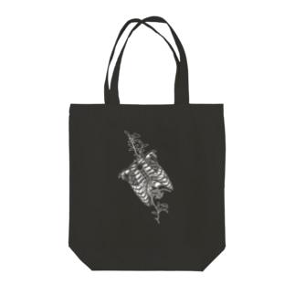Black-Ribs Tote bags