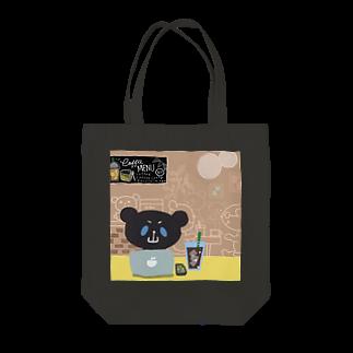 おやまくまオフィシャルWEBSHOP:SUZURI店のブラックおやまくまとカフェ トートバッグ