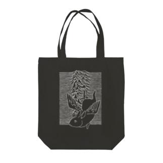 天使うさぎの波(白) Tote bags