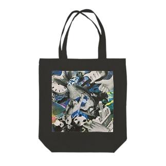 青いにぎやか Tote bags