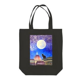 月夜猫2 Tote bags