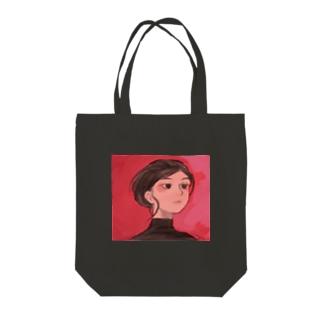Red, Black Tote bags