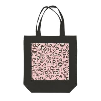 ひょう柄猫ちゃんピンク トートバッグ