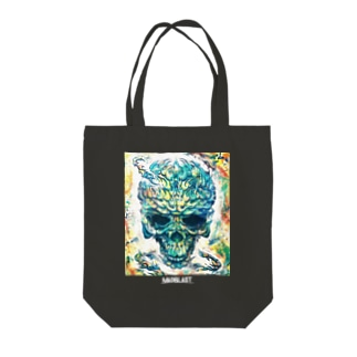MAD SKULL 黒地用 Tote bags