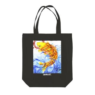 鯉図 黒地用 Tote bags