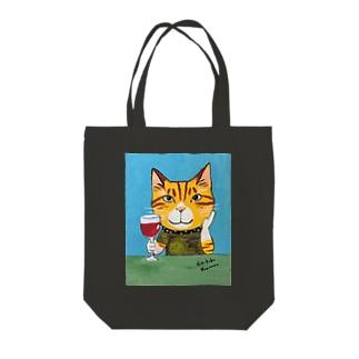 ワインねこ Tote bags