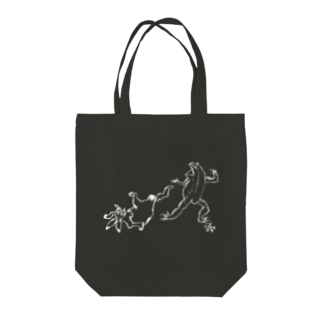 ちょうじゅうぎが(しろい線) Tote bags