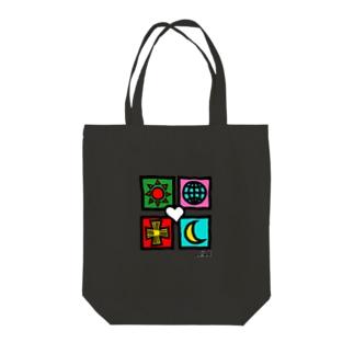 ユニバース カラー 手描風 Tote bags