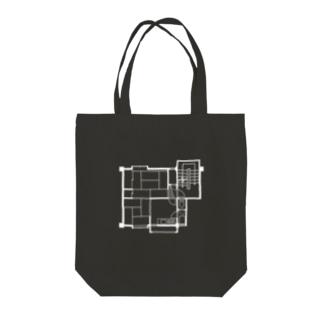 2DK(暗色系用ホワイト) Tote bags