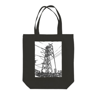 イケメン鉄塔(モノクロ) Tote bags