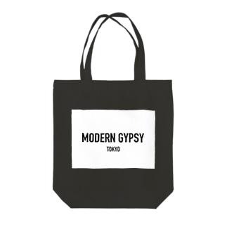 MODERN GYPSY LOGO(WHITE) Tote bags