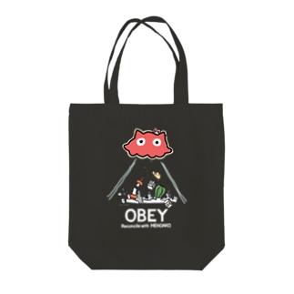 めんだこちゃん OBEY (濃色用) Tote bags