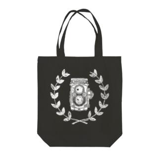 レトロカメラ(二眼レフ/濃色生地用) Tote bags