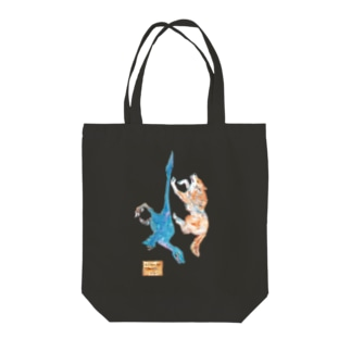 Wolf and Velociraptor Tote bags