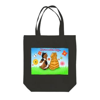 仲良し猫さん 英語ロゴ付き Tote bags