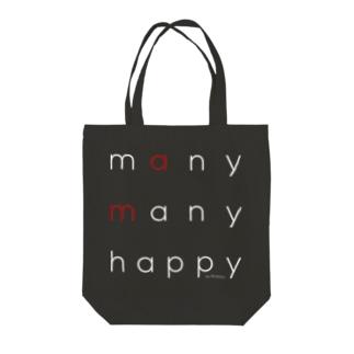 many many happy(白抜き文字) Tote bags
