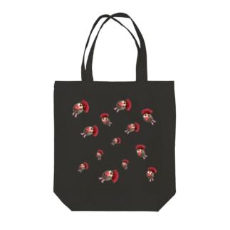 ハリネズミつんさん雨のお出かけ Tote bags