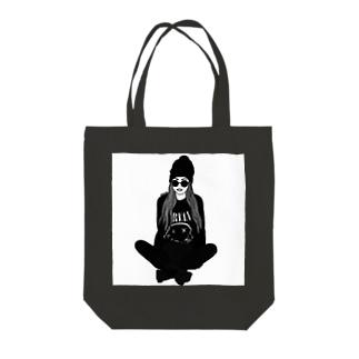 モノトーンガール Tote bags