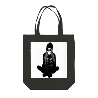 corazonのモノトーンガール Tote bags