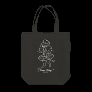 トンガリゴートの夏休みニャンコ-白- Tote bags