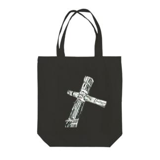 トートバッグタイプわら人形モノクロ Tote bags