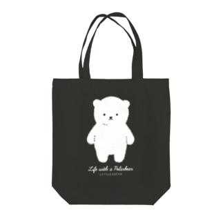 しろくま仁王立ち/黒 [しろくまのいる生活お買い物バッグ] Tote bags