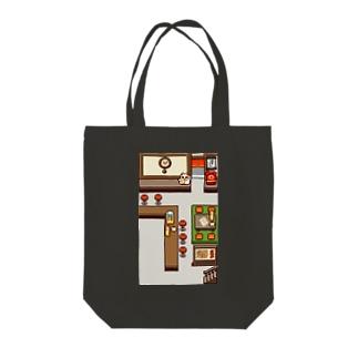 ドット絵 レトロ店内 Tote bags