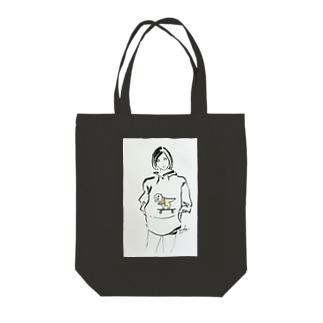 恐竜スケボー女子 Tote bags