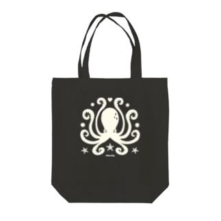 蛸紋章ホワイト Tote bags