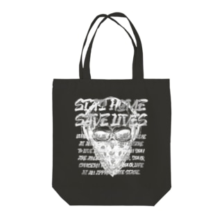 STAY HOME、SAVE LIVES。 髑髏マスク/白 Tote bags