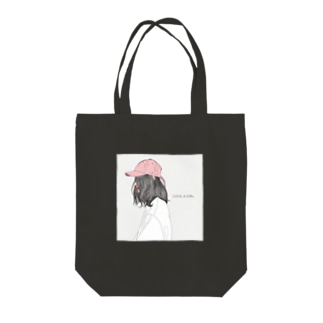 love a girl (pink hat) Tote bags