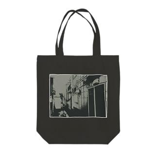 寄り道への誘い【黒】(白縁) Tote bags